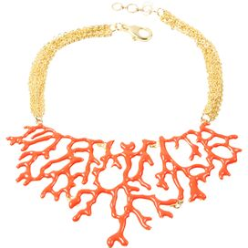 Coral Branch Necklace in Coral