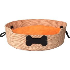 Personalized Basket Pet Bed in Orange