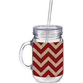 Liza Burlap Chevron Drinking Jar