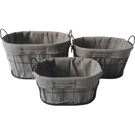 3-Piece Lined Wire Basket Set in Black
