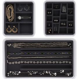 3-Piece Emily Jewelry Organizer Set in Charcoal
