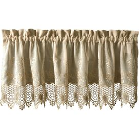 Embroidered Lace Valance in Mushroom