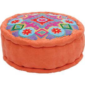 Media Embroidered Pouf