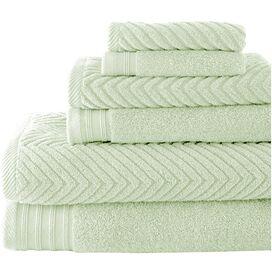 6-Piece Cotton Bath Towel Set in Soft Jade
