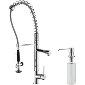 Single Handle Pull-Down Kitchen Faucet with Soap Dispenser in Chrome