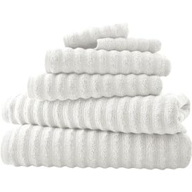 6-Piece Wavy Cotton Towel Set in White