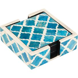 Elizabeth Bone Coasters in Turquoise (Set of 4)
