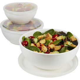 3-Piece Chilled Serving Bowl Set in White