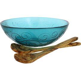 3-Piece Swirl Serving Bowl Set in Capri Teal