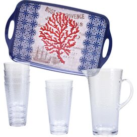 8-Piece Red Coral Drinkware Set