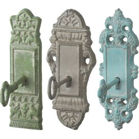3-Piece Keyhole Cast Iron Wall Hook Set