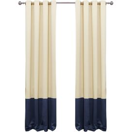 Arlington Blackout Curtain Panel in Beige & Navy (Set of 2)