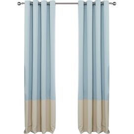 Arlington Blackout Curtain Panel in Sky Blue & Beige (Set of 2)
