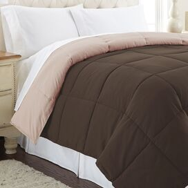 Sawyer Reversible Comforter in Deep Mahogany & Peach Beige