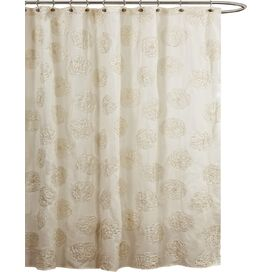 Samantha Embroidered Shower Curtain in Ivory