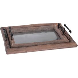 2-Piece Wood Tray Set (Set of 2)