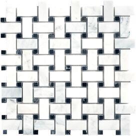 Basketweave Polished Marble Mosaic Tile (Set of 10)