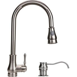 Single Handle Pull-Out Kitchen Faucet in Brushed Nickel