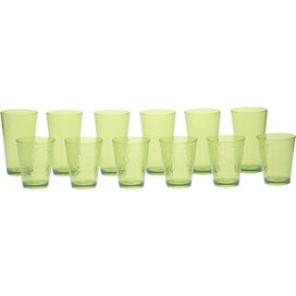 12-Piece Darcy Drinkware Set in Lime