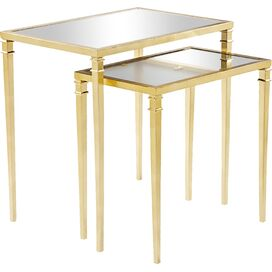 2-Piece Kenzie Mirrored Nesting Table Set in Gold