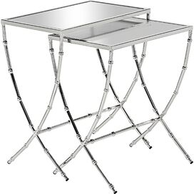 2-Piece Tyra Mirrored Nesting Table Set