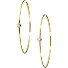 Single Bezel Hoop Earrings in Gold