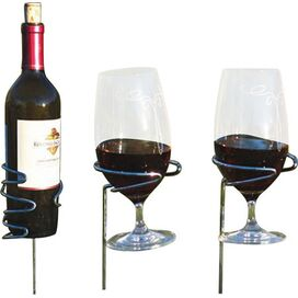 3-Piece Wine Bottle & Glass Holder Set