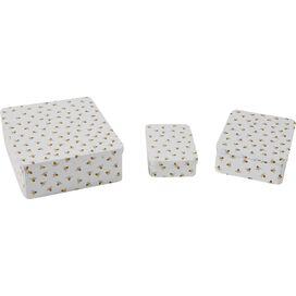 3-Piece Honeybee Tin Set in White