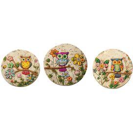 3-Piece Owl Stepping Stone Set