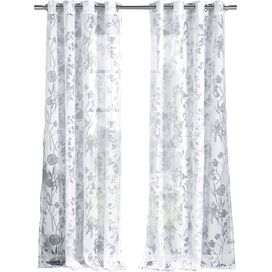 Floral Burnout Grommet Top Curtain Panel (Set of 2)