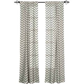 Chevron Cotton Rod Pocket Curtain Panel in Gray