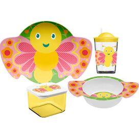 4-Piece Butterfly Melamine Kids Dinnerware Set