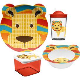 4-Piece Lion Melamine Kids Dinnerware Set