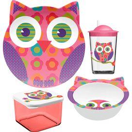 4-Piece Owl Melamine Kids Dinnerware Set