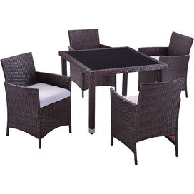 5-Piece Aptos Patio Dining Set in Black & Tan