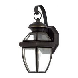 Boylston 1-Light Outdoor Wall Lantern in Brass