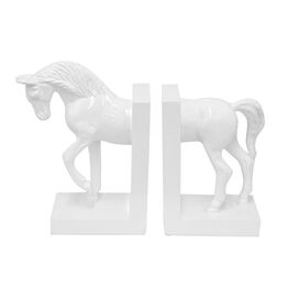 Horse Bookends in White