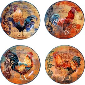 Rustic Rooster Dessert Plate (Set of 4)