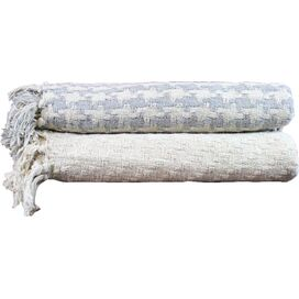 Houndstooth Cotton Throw in Silver (Set of 2)