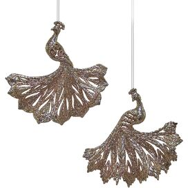 2-Piece Peacock Ornament Set
