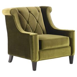 Barrister Velvet Arm Chair in Green