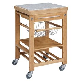 Bamboo Kitchen Cart with Granite Top