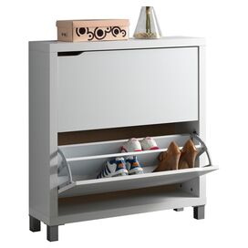 Simms 2-Drawer Shoe Cabinet in White