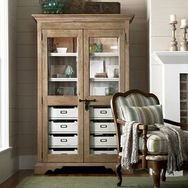 Gloria Display Cabinet in Distressed Oatmeal