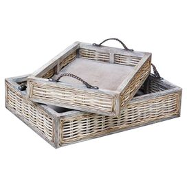 2-Piece Provence Teak & Wicker Tray Set