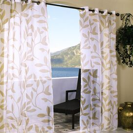 Feuille Indoor/Outdoor Curtain Panel in Khaki