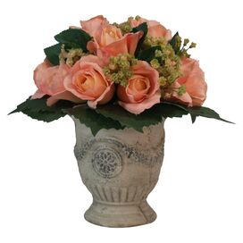 Faux Rose Arrangement in Decorative Pot III