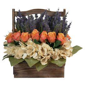 Faux Hydrangea & Rose in Basket