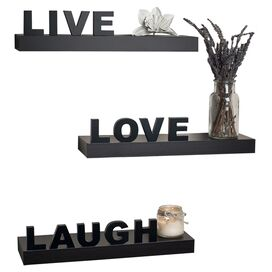 3-Piece Live Love Laugh Wall Shelf Set in Espresso