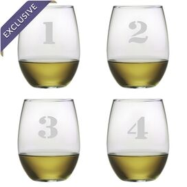 Counting Stemless Wine Glass (Set of 4)
